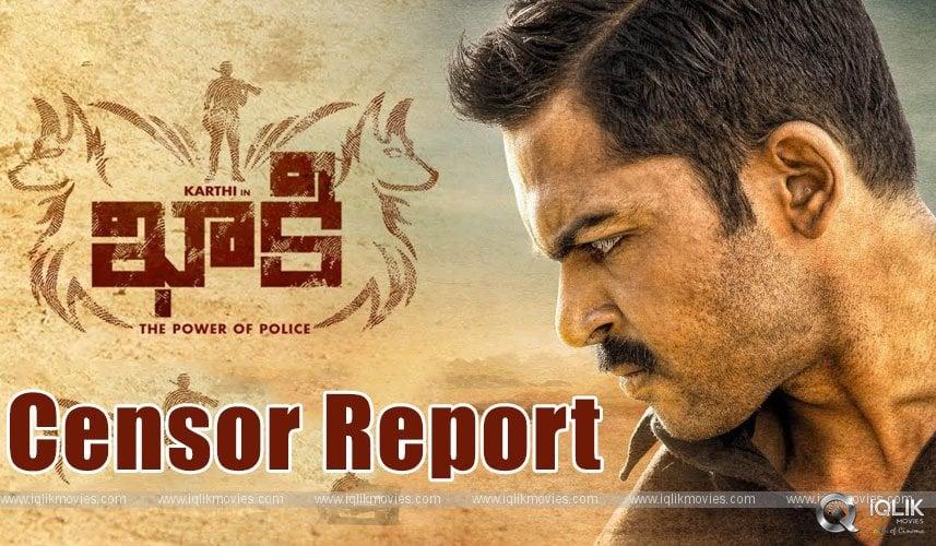 Karthi Khaakee Censor Report